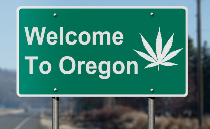 Oregon sign with marijuana leaf