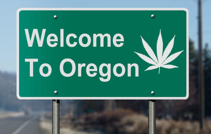 Oregon sign with marijuana leaf